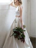 Two Piece Bateau White Satin Prom Dresses with Beading&Pockets, TYP1285