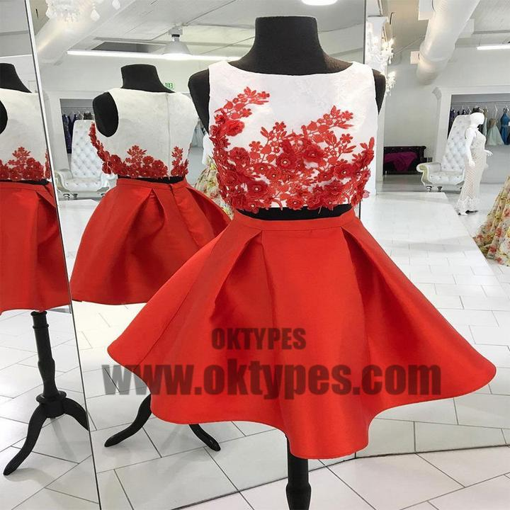 Sexy Two Pieces Unique Red Homecoming Dresses 2018, Homecoming Dresses, TYP0609