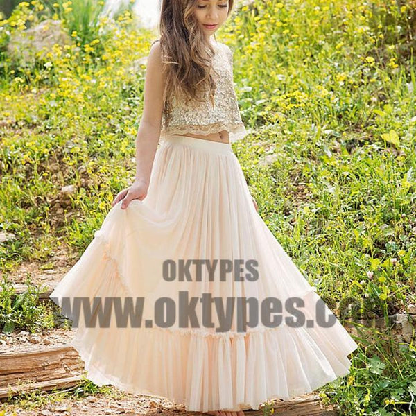 2 Pieces Sequin Top Blush Pink Chiffon Skirt Flower Girl Dresses, Junior Bridesmaid Dresses, TYP0529