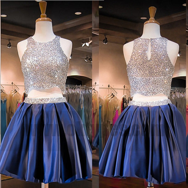 Sparkling Homecoming Dress,Sliver Sequin Homecoming Dress,Two-piece Blue Homecoming Dresses, TYP0763
