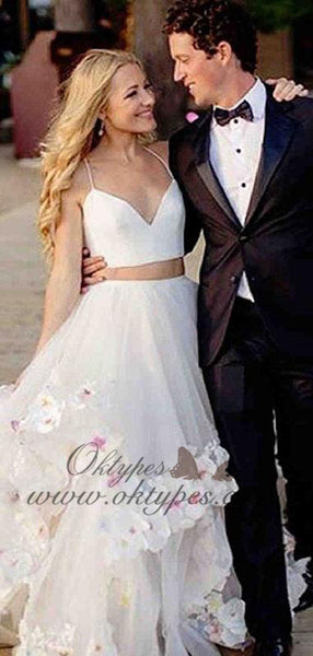 Two Piece Spaghetti Strap V-neck Cheap Ivory Tulle  Wedding Dresses, TYP1483