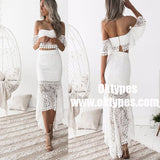 Two Piece Off-the-Shoulder White Lace Homecoming Party Dresses, TYP0964