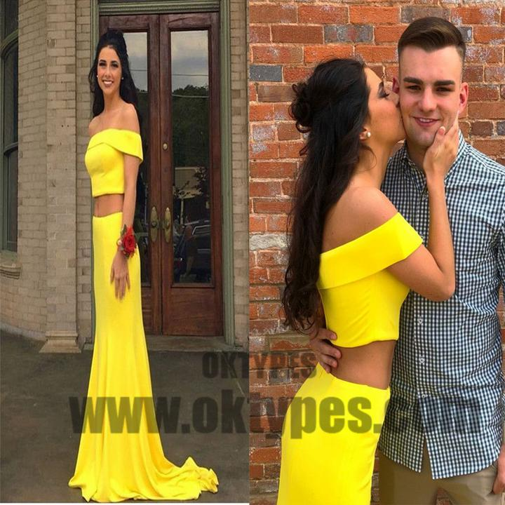 Two Piece Yellow Soft Satin Prom Dresses, Long Mermaid Cute Prom Dresses, TYP0582