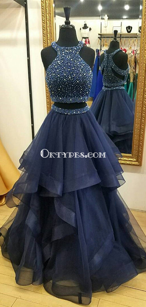 Charming Navy Blue Prom Dress, Two Piece Prom Dresses, Ball Gown Prom Dress, Beading Prom Dress, Long Party Dresses, TYP0052