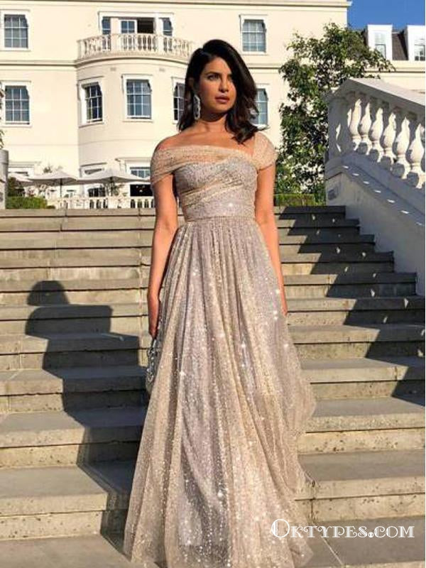 Unique Gold Sparkle Long Cheap Formal Evening Dress Prom Dresses, TYP1736