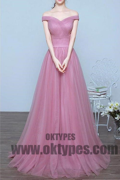 Long Floor Length Tulle Prom Dresses, Off-shoulder Prom Dresses, Zipper Prom Dresses, Simple Prom Dresses, TYP0260
