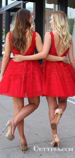 Charming V-Back Beading Belt Red Short Homecoming Dresses with Appliques, TYP2022