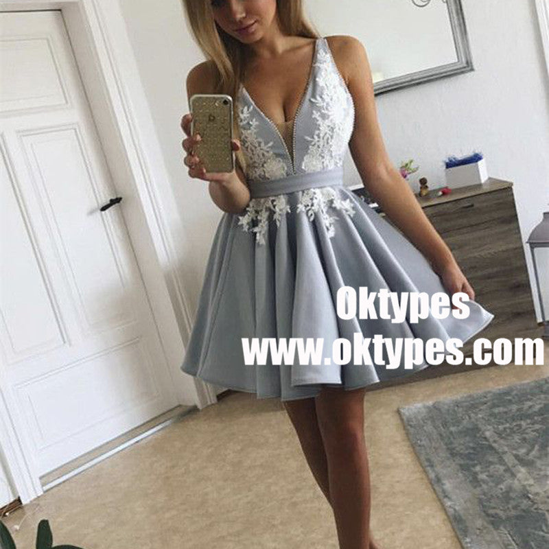 A-Line V-Neck Pleated Light Blue Satin Homecoming Dress with Appliques, TYP0925