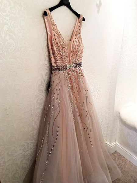 Gorgeous Unique Modest Fashion Young V-neck Neckline A-line Prom Dresses With Beads, TYP1192