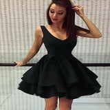 Cheap Short Simple V Neck Black Homecoming Dresses Online, TYP0801