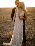 2019 Sexy Deep V-neck Long Lace Beach Wedding Dresses, TYP1566