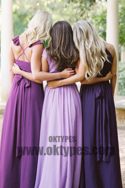 Sexy Deep V-neck Chiffon Bridesmaid Dresses, Backless Bridesmaid Dresses, TYP0427