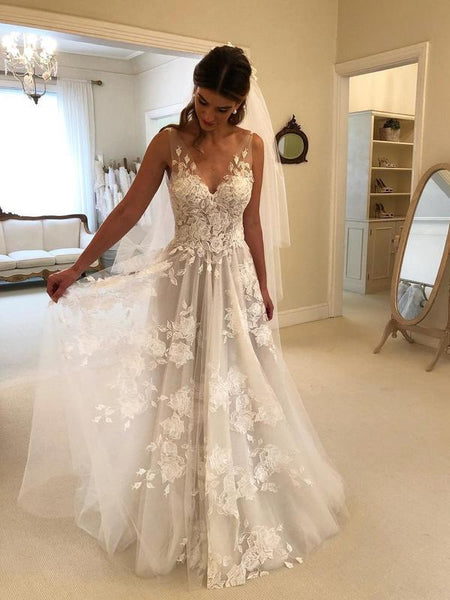 Lace Applique Ivory Beach Wedding Dresses V Neck Backless Wedding Dresses, TYP1244