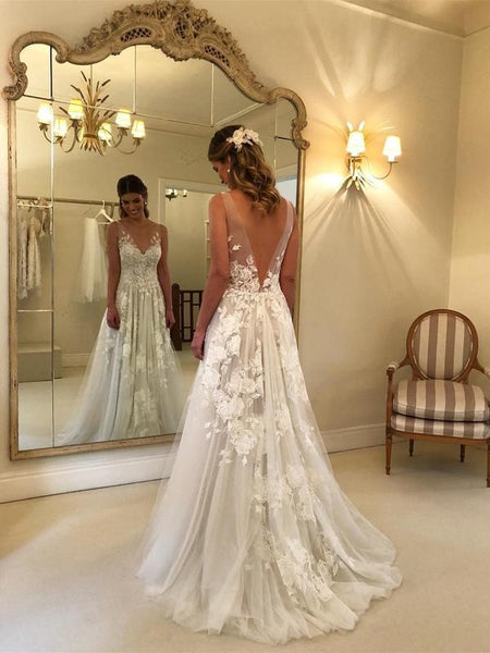 94b6474692f Lace Applique Ivory Beach Wedding Dresses V Neck Backless Wedding Dresses