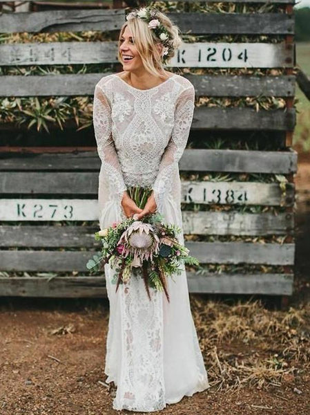 Long Sleeve Ivory Lace See Through Backless Boho Wedding Dresses, TYP1245