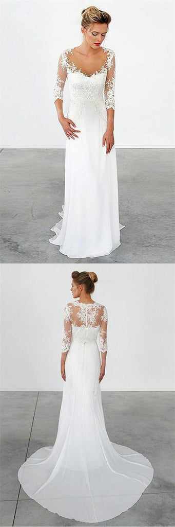 Mermaid Illusion Scoop Long Cheap Chiffon Appliques Wedding Dresses with Sleeves, TYP1036