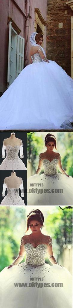 Gorgeous Illusion Long Sleeve Beaded Rhinestone Lace Up Ball Gown Wedding Dress, TYP0518