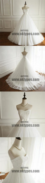 Simple Strapless A line Pearls Beaded Wedding Bridal Dresses, Cheap Custom Made Wedding Bridal Dresses, TYP0596