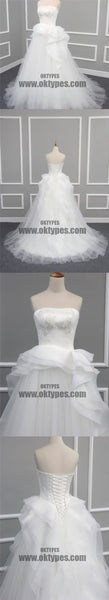 Straight Neckline Off White Lace Top A-line Tulle Gorgeous Lace Up Wedding Dresses, TYP0600
