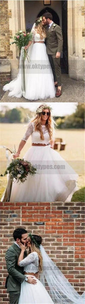 Two piece Wedding Dresses, Beach Wedding Dresses, Top Lace Half Sleeve Wedding Dresses, TYP0776