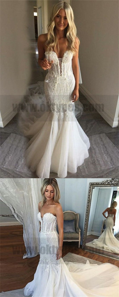 Mermaid Sweetheart Court Train Tulle Wedding Dress with Lace, Cheap Wedding Dresses, TYP0731