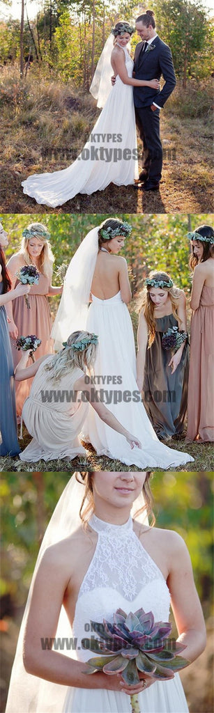 Most Popular Halter Lace Chiffon Illusion Wedding Dresses, Cheap Country Wedding Dresses, TYP0652