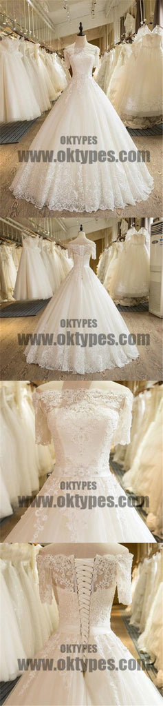 Beautiful Wedding Dresses Off-the-shoulder Ball Gown Lace Ivory Bridal Gown, TYP0685