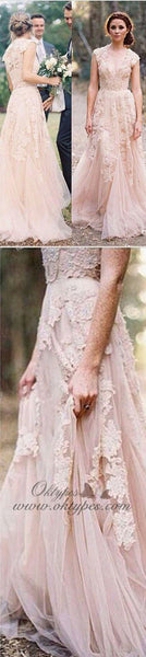 Charming Pink Lace Sexy V-neck Long Sheath Tulle Wedding Party Dresses Online, TYP1177