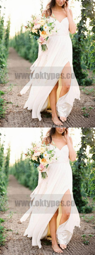 Casual Spaghetti Straps V Neck Side Slit Simple Beach Wedding Dresses, TYP0800