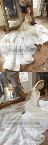 A-Line Bateau Backless Sweep Train Wedding Dresses with Appliques, TYP0733
