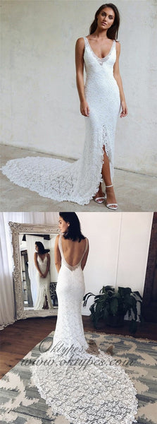 Tight  V-Neck Court Train Backless Lace Long Wedding Dresses with Split, TYP1541