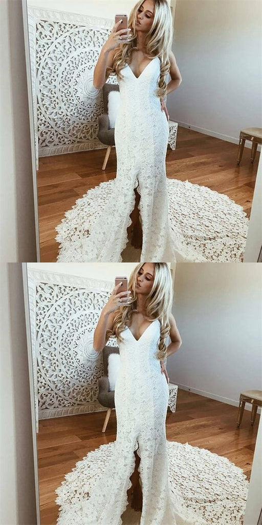 Sexy Spaghetti Straps Sleeveless White Lace Wedding Dresses with Split, TYP1111