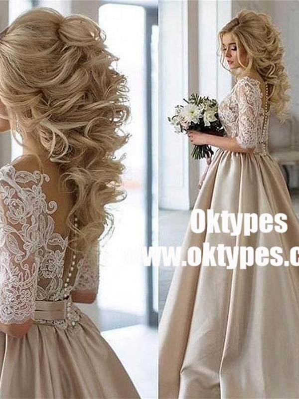 2018 Charming New Arrival Half Sleeves Lace Top Soft Beautiful Simple Wedding Dress, TYP0839