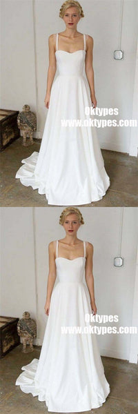 A-Line Straps Sweep Train Sleeveless Stain Simple Wedding Dresses, TYP0918