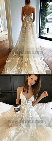 Lace Wedding Dresses, Spaghetti Straps Wedding Dresses, Wedding Dresses, TYP0778