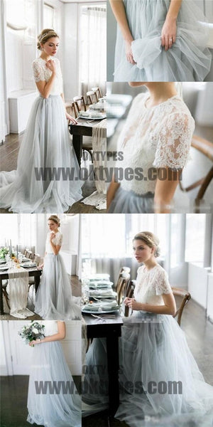 Long Floor Length Wedding Dresses, Top Lace Wedding Dresses, Tulle Wedding Dresses, TYP0350