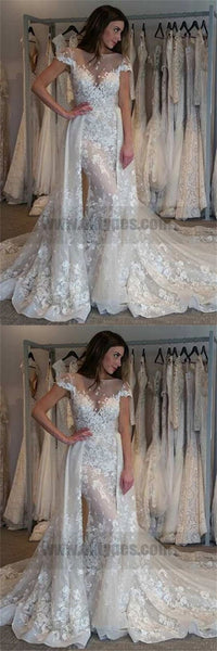 Dramatic Mermaid Wedding Dresses, Bateau Short Sleeves Detachable Train Wedding Dresses, TYP0734