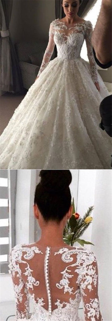 Elegant Ball Gown Lace Long Wedding Dress with Long Illusion Sleeves, TYP1079