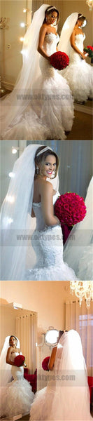 Sweetheart Lace Appliques Long Mermaid Wedding Dresses With Ruffles, TYP0757