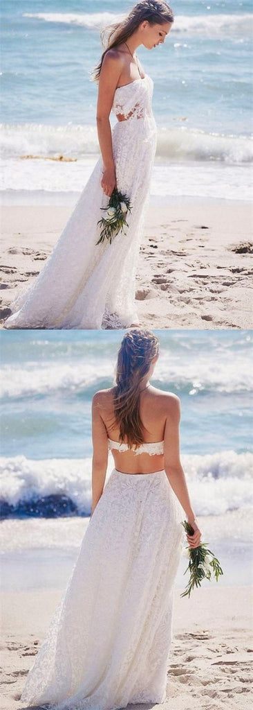 Two Piece Strapless Floor-Length Lace Beach Boho Cheap Wedding Dresses, TYP1018