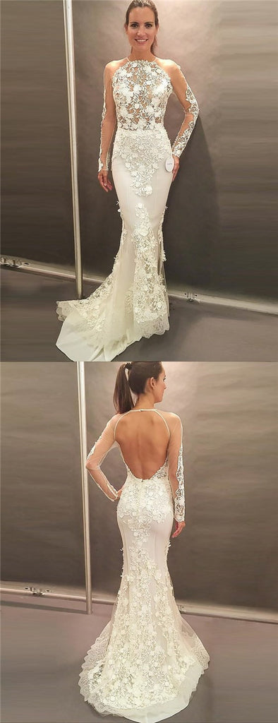 Mermaid Jewel Long Sleeves Sweep Train Open Back Wedding Dresses with Appliques, TYP1016