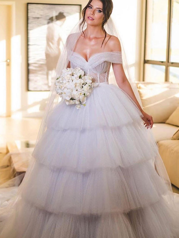 Off-The-Shoulder Ivory Tulle Ball Gown Long Cheap Wedding Dresses, WDS0066
