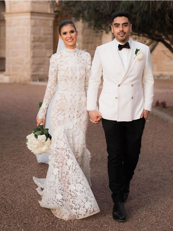 Long Sleeves High Neck Lace Mermaid Long Cheap Wedding Dresses, WDS0067