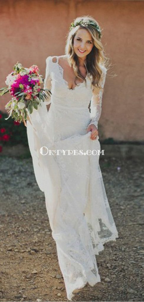 Sheath V-neck Backless Long Sleeves Lace Boho Wedding Dresses, TYP1411