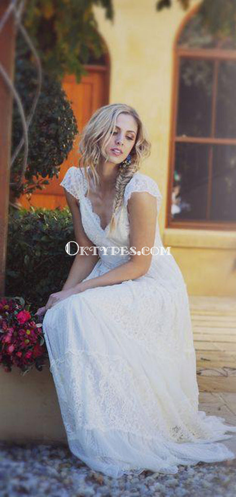 Simple A-Line Scoop Long Cheap Cap Sleeves Lace Beach Wedding Dresses, TYP1078