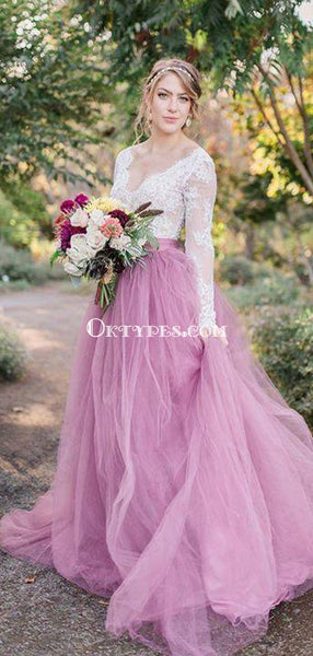 A-Line V-Neck Long Sleeves Pink Tulle Wedding Dresses with Lace Appliques, TYP1017