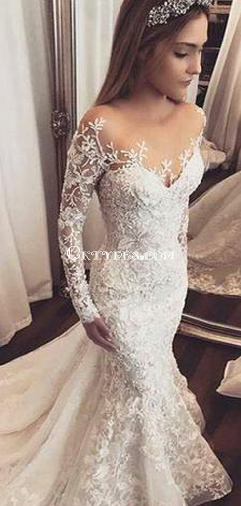 Mermaid Illusion Bateau Long Sleeves Tulle Wedding Dress with Appliques, TYP0710