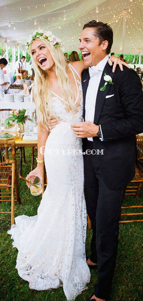 Ivory Lace Country Wedding Dresses V Neck Mermaid Wedding Dresses, TYP1214