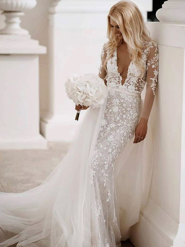 Long Sleeves V-neck Lace Mermaid Long Cheap Wedding Dresses, WDS0070