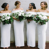 Mermaid Off-Shoulder Long Cheap White Satin Bridesmaid Dresses Online, TYP1015
